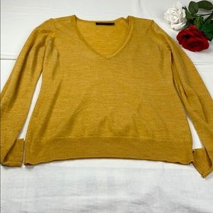 The Limited Mustard Yellow V-Neck Sweater L